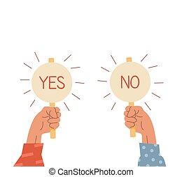 haut, deux, tenue, caption., vote, bras, négatif, élevé, ou, plaques, positif, signes, illustration., signe., icons., vecteur, main, oui, choix, non, concept., sélectionner, vrai, false., homme affaires