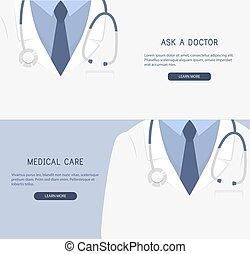 haut., docteur, monde médical, arrière-plan., vecteur, fin