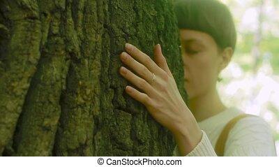 haut., femme, amour, grand, nature., arbre, toucher, forêt, écorce, étreint, fin, girl