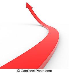 haut., flèche rouge, 3d