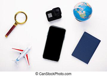 haut, fond, verre, action, magnifier, appareil photo, blanc, téléphone, avion, vacances, passeport, railler