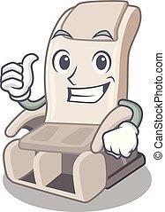 haut, forme, pouces, chaise, masage, mascotte