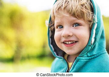 haut., garçon, printemps, nature., dehors, fin, enfantqui commence à marcher, heureux