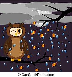 haut, hibou, yeux, paysage, branches, brun, arbre, voler, ciel, nuages, pluie, automnal, quoique, sien, contre, vissé, couvert, séance, feuilles, était, toile de fond