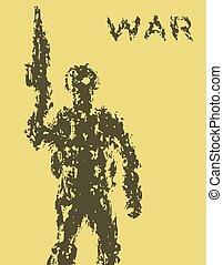 haut., illustration., tient, soldat, assaut, vecteur, fusil, baril