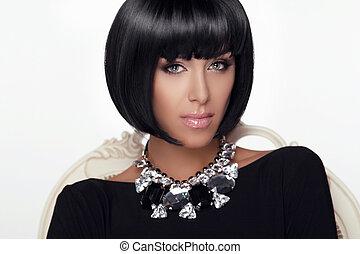haut., jewelry., femme, hairstyle., beauté, faire, coupe, makeup., charme, girl., mode, portrait., élégant, sexy, style., vogue