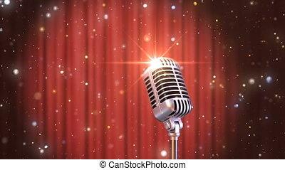 haut, microphone, retro, fond, stand