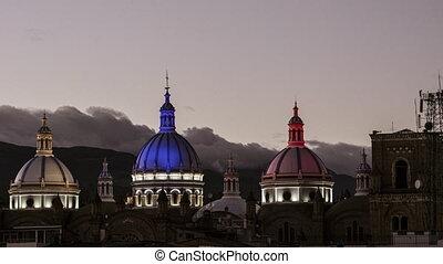 haut, nouveau, couleurs, équatorien, équateur, dômes, cuenca, coucher soleil, drapeau, lumière, cathédrale