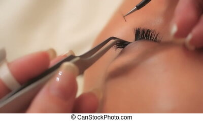 haut, oeil femme, eyelashes., cil, extension., mèches, long, foyer., sélectionné, fin