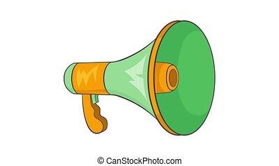 haut-parleur, animation, icône, vert