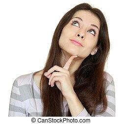 haut, pensée, isolé, figure, regarder, arrière-plan., closeup, doigt, sourire, portrait, girl, blanc