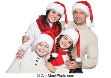 haut, portrait, famille, gosses, fin, santa, chapeaux