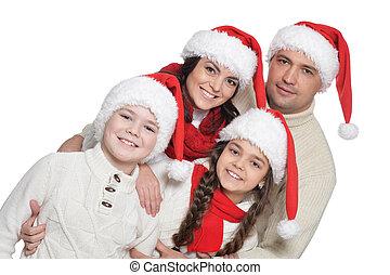 haut, portrait, santa, gosses, fin, famille, chapeaux