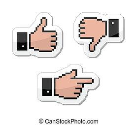 haut, pouce, icônes, -, curseur, pixel, aimer