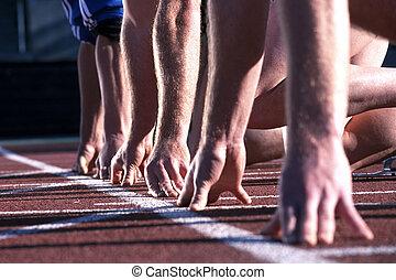 haut, race., début, mains, athlétisme, ligne, coureurs