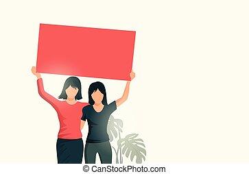 haut, signe, deux, tenue, vide, femmes