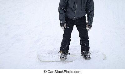haut, ski, snowboarder, début, obtenir