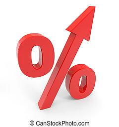 haut., symbole, pourcentage, flèche, rouges