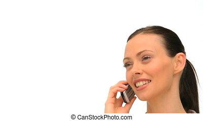 haut, téléphoner, fin, femme