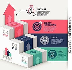 haut, toile, utilisé, business, escalier, être, timeline, options, flot travail, nombre, conception, infographics, disposition, vecteur, diagramme, boîte, étape, bannière, illustration., template., 3d