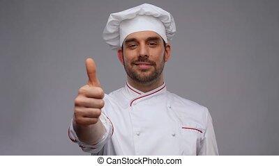 haut, toque, projection, chef cuistot, pouces, sourire, mâle