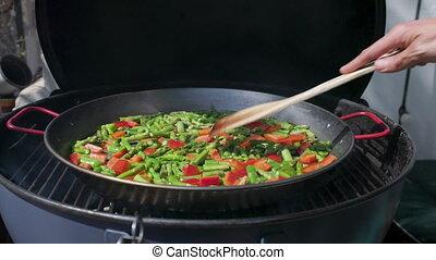 haut, vidéo, cuisine, paella, fin