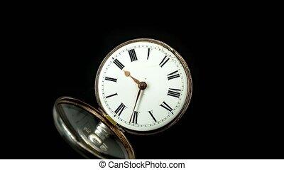 haut., vieux, timelapse, montre, dos courant, poche, seconde, fond, dial., fin, blanc, main