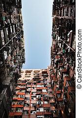 haute densité, hong, logement, kong