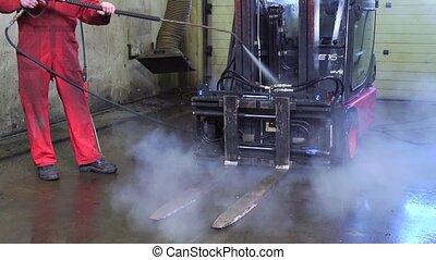 haute pression, pulvérisation, nettoyage