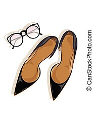 hauts talons, stylet, noir, chaussures