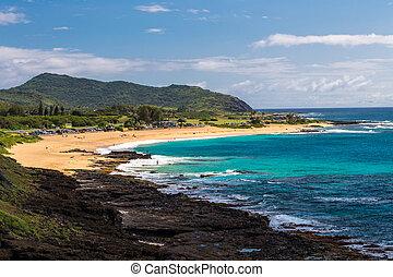 hawaï, plage, oahu, sablonneux