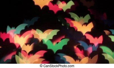 hd, 1920, arrière-plan noir, multicolore, animation, mouvement, chauves-souris
