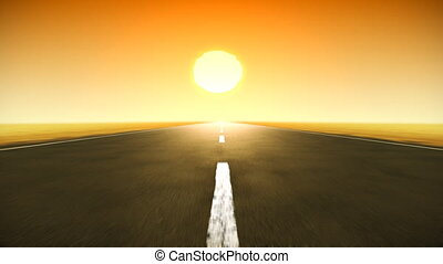 hd., coucher soleil, route, boucle