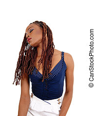 head., américain, dame, inclinable, africaine
