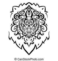 head., lion, pattern., ethnique