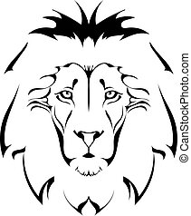 head., lion, tatouage
