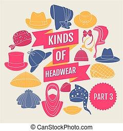 headwear., partie, genres, 3