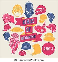 headwear., partie, genres, 4