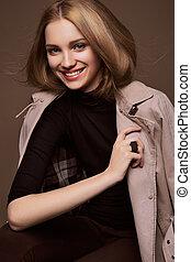 healthcare., beauté, female., parfait, jeune, woman., isolé, brun, portrait, skin., arrière-plan., beau