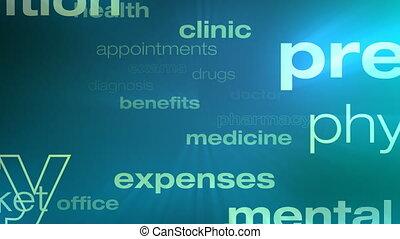 healthcare, boucle, mots, assurance