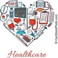 healthcare, forme, coeur, icônes