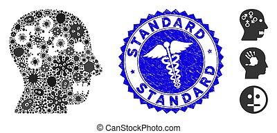 healthcare, norme, psychosexual, pandémie, mosaïque, désordre, cachet, grunge, icône