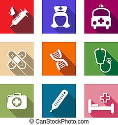 healthcare, plat, monde médical, ensemble, icônes