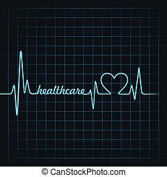healthcare, pulsation, faire, texte