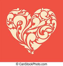 heart., affiche, résumé, retro, floral, amour, concept.