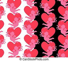 heart., ange, modèle, seamless, silhouettes, valentine`