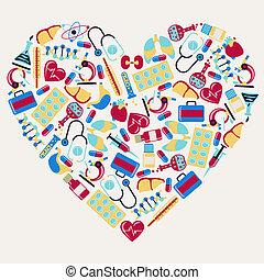 heart., icônes, monde médical, forme, services médicaux