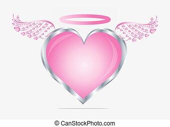 "heart""., illustration, valentin, vecteur, ""angel, icône"