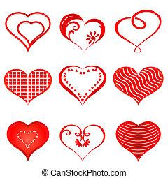 hearts., vecteur, ensemble, rouges