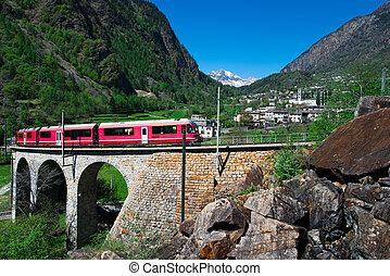 helicidal, brusio, viaduc, train, rouges, passage, bernina